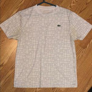 Lacoste sport white grid print tee - size M